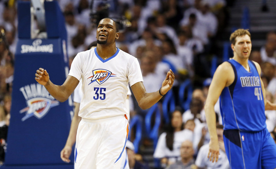 Photo - Oklahoma City's Kevin Durant (35) reacts to a call against the Thunder in the first half during Game 2 of the first round series between the Oklahoma City Thunder and the Dallas Mavericks in the NBA playoffs at Chesapeake Energy Arena in Oklahoma City, Monday, April 18, 2016. Photo by Nate Billings, The Oklahoman