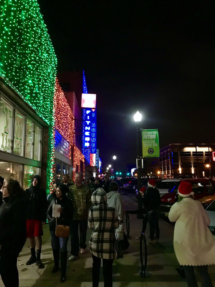 Photo -  Shoppers fill the streets Saturday night along Automobile Alley during the start of the 2018 Lights on Broadway. [Photo Provided]