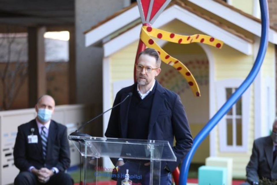 Photo -  Thunder general manager Sam Presti speaks at the ribbon cutting ceremony for the Presti Clubhouse at Oklahoma Children's Hospital. [Photo provided by Oklahoma Children's Hospital]