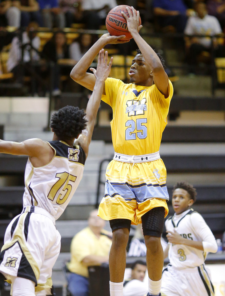 Photo - Putnam City West's Tyson Jolly shoots over Midwest City's Richard Anderson during a boys high school basketball game in Midwest City, Okla., Tuesday, Feb., 10, 2015. [Photo by Bryan Terry/The Oklahoman]
