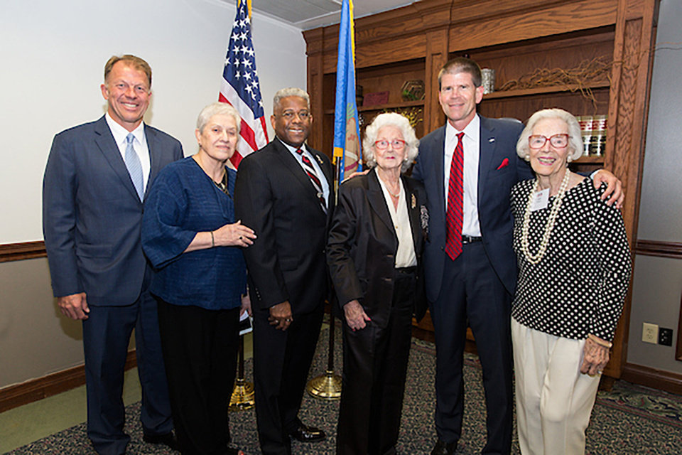 Photo - David Harmer, Molly Wehrenberg,(Ret.) Lt. Col. Allen B. West, Jose Freede, John deSteiguer and Joan Gilmore. PHOTO BY STEVEN CHRISTY, FOR THE OKLAHOMAN