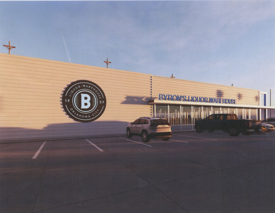 Photo -  A rendering shows planned improvements to the north side of Byron's Liquor Warehouse. [RENDERING PROVIDED]