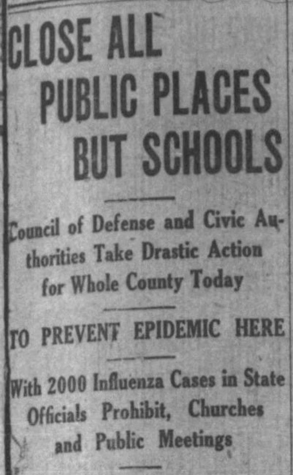 Photo -  An Argus Leader headline announces broad closures during 1918 flu pandemic. [ARGUS LEADER ARCHIVES]