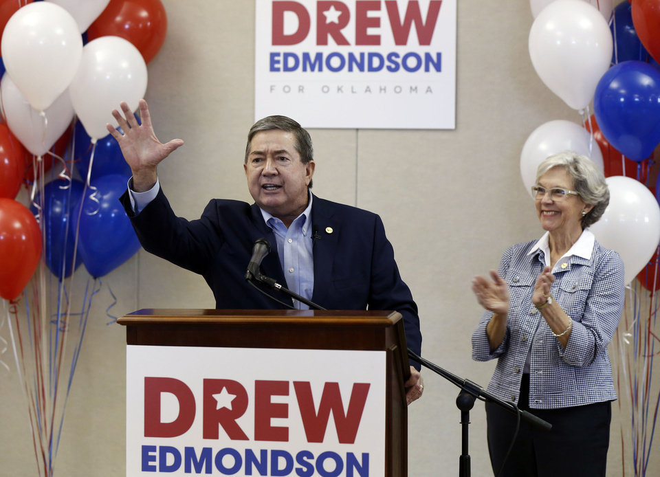 Photo -  Drew Edmondson with his wife Linda announces he is running for Oklahoma Governor in Tulsa, OK, May 1, 2017. STEPHEN PINGRY/Tulsa World