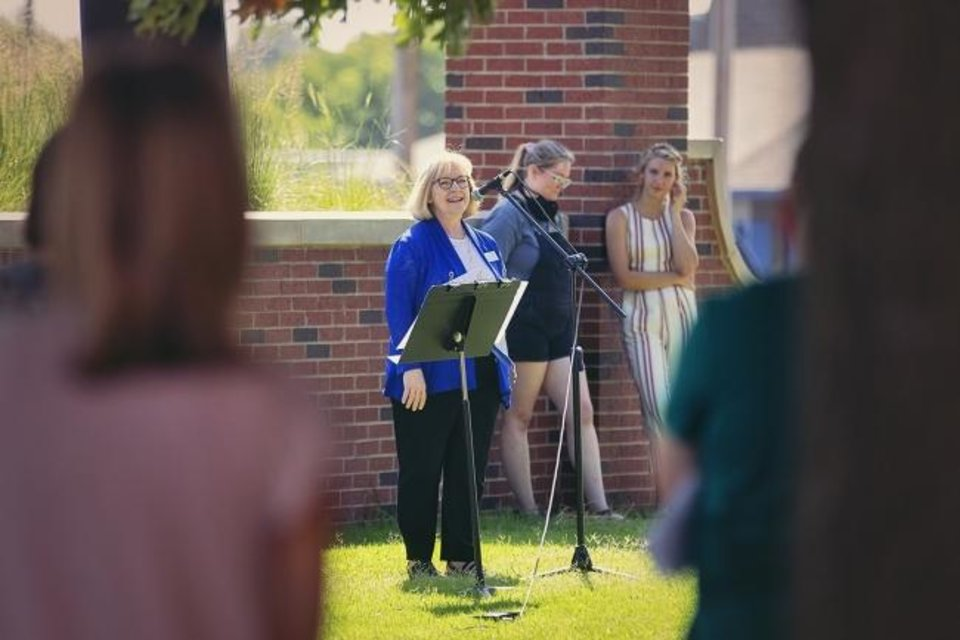 "Photo -  Robbie Henson, dean of the College of Nursing at Oklahoma Baptist University, talks Aug. 10 during a ""Blessings of the Hands"" ceremony on the university campus in Shawnee. [OBU Photo]"