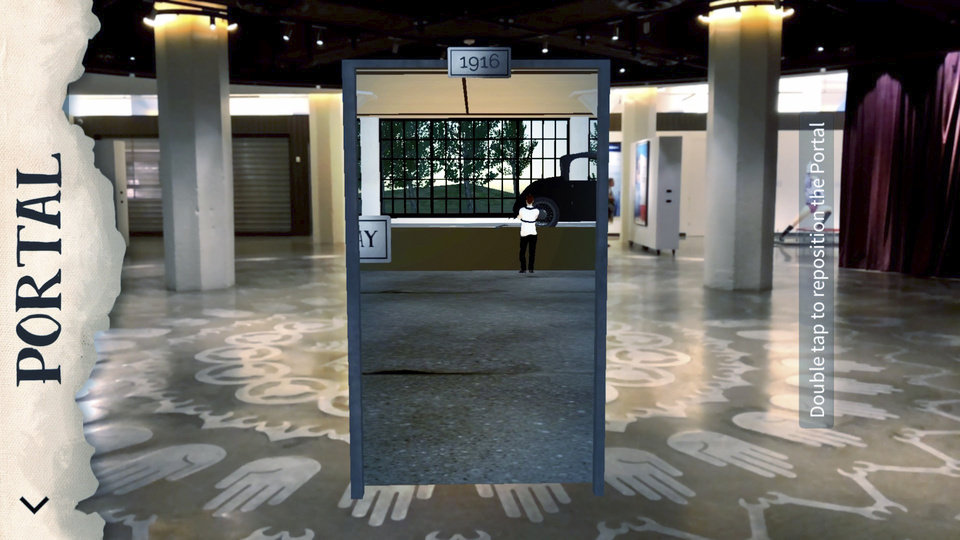 Photo -  This still image from a mobile device reveals an augmented reality time portal at 21c Museum Hotel, ready for scavenger hunters to use as they learn about Oklahoma City history. [Photo provided]