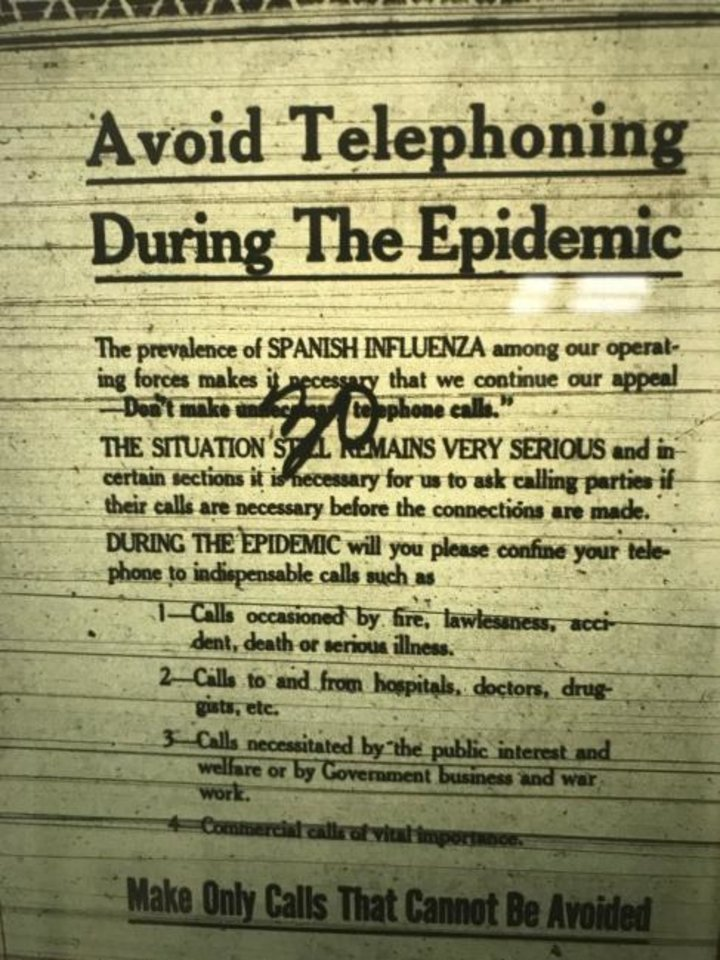 Photo -  A public service announcement in the Bergen Evening Record warns about using the phone while the 1918 Flu Pandemic was at its peak in Northern New Jersey. [BERGEN EVENING RECORD ARCHIVES]