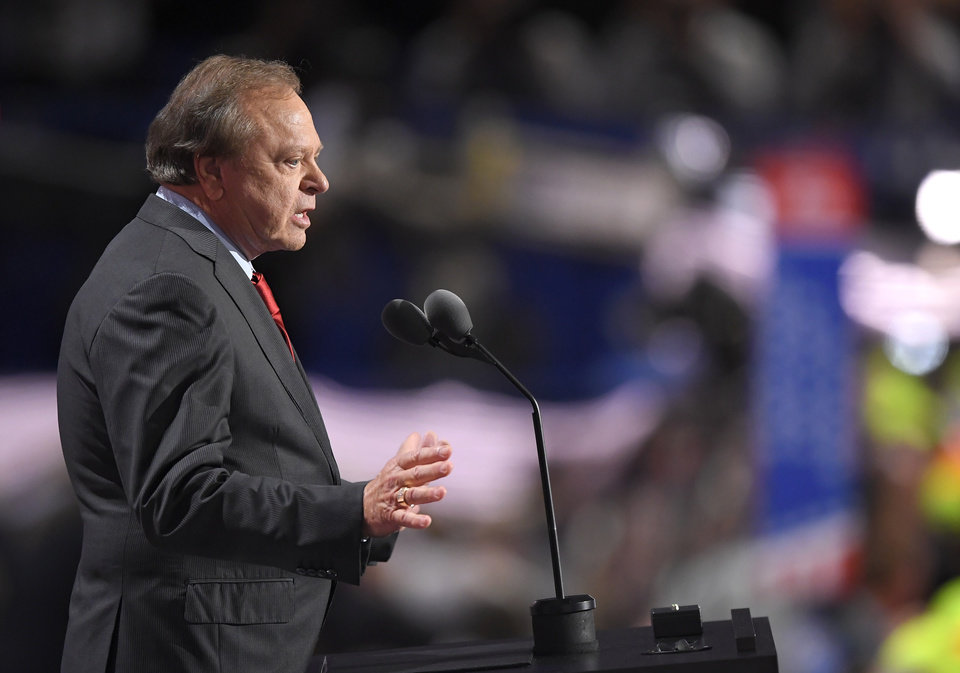 Photo - Harold Hamm, CEO of Continental Resources, speaks during the third day of the Republican National Convention in Cleveland, Wednesday, July 20, 2016. (AP Photo/Mark J. Terrill)