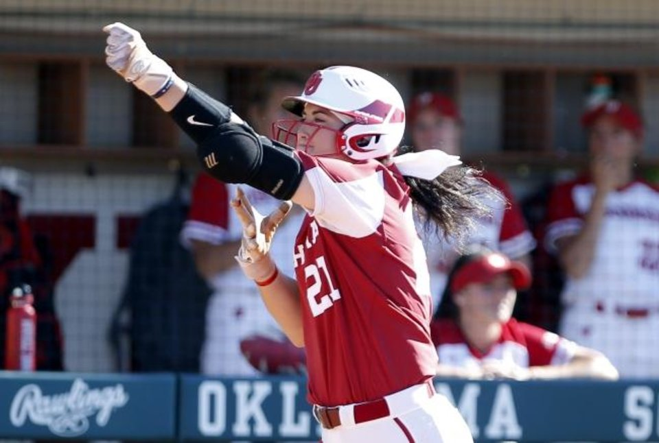 Photo -  Oklahoma freshman Grace Green celebrates a home run in the fourth inning of Sunday's