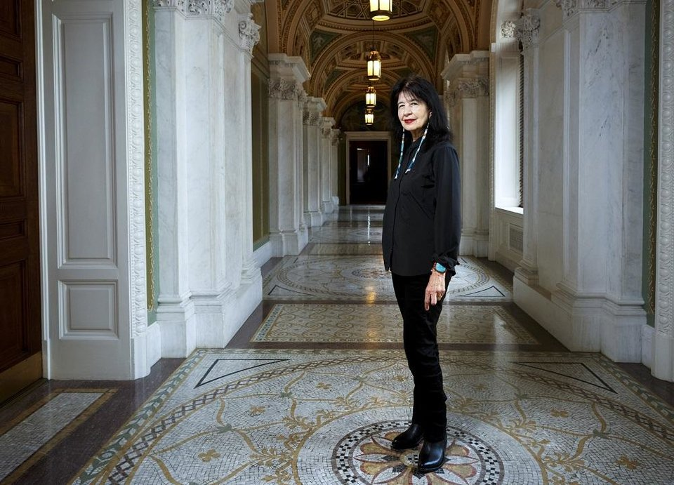Photo - In this June 6, 2019, photo, Joy Harjo, of the United States, poses inside the Library of Congress, in Washington. Harjo has been named the country's next poet laureate, becoming the first Native American and first Oklahoman to hold that position. Librarian of Congress Carla Hayden announced Harjo's appointment, saying in a statement today that the poet helped tell an American story of continuity and disruption,