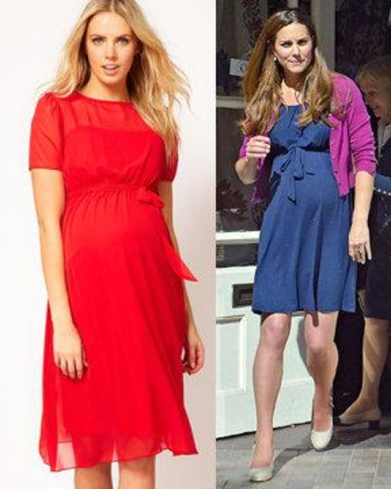 Photo - Left: This crimson dress is strikingly similar to one worn by Pregnant Kate Middleton, Duchess of Cambridge, seen on right. Both dresses are by Asos. Right: AP Photo. Left: Photo provided.