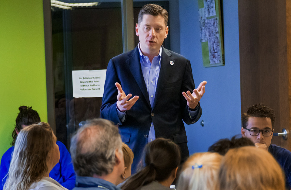 Photo - Mayor David Holt addressed the Coalition to End Poverty to talk about his goals for the city at Homeless Alliance WestTown Campus in Oklahoma City, Okla. on Wednesday, May 8, 2019.  [Chris Landsberger/The Oklahoman]