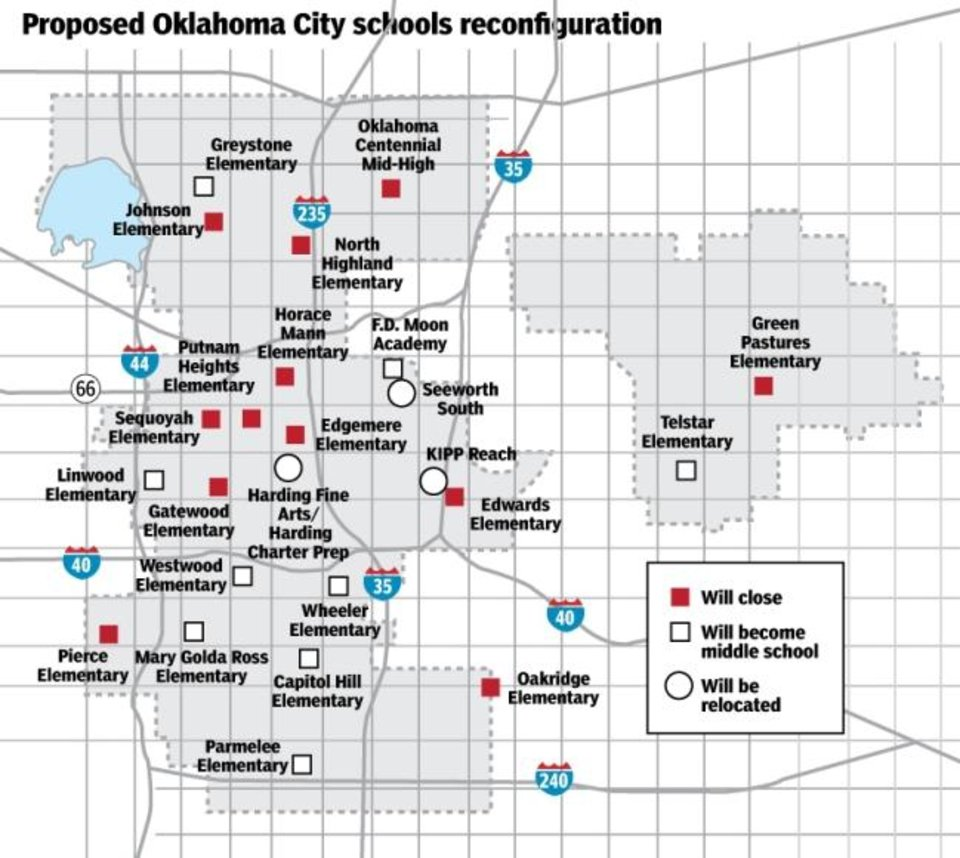 Photo -  This map depicts Oklahoma City Public Schools' reconfiguration under the Pathway to Greatness plan. [THE OKLAHOMAN GRAPHICS]