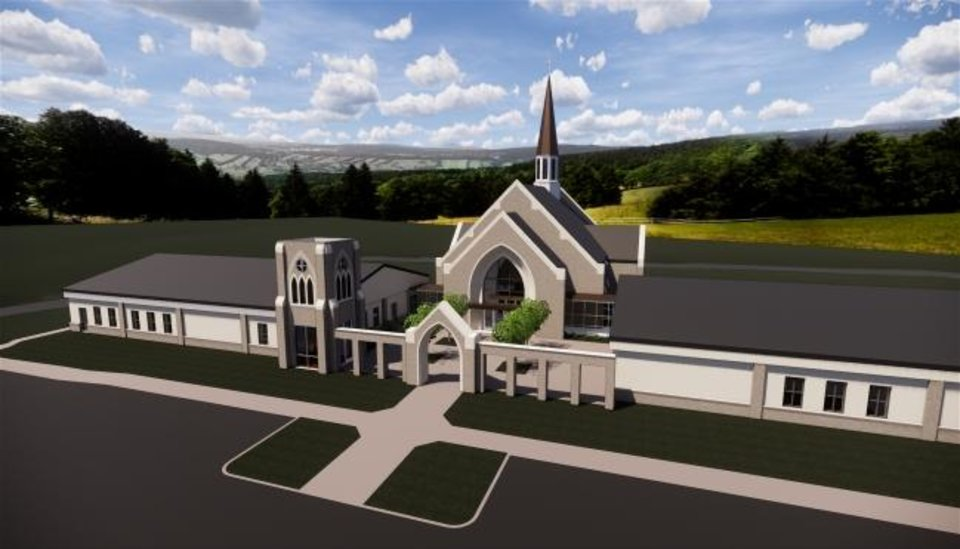 Photo -  St. Mary's Episcopal Church's new church building to be constructed near Covell Road and Broadway is shown in this architect's drawing. [Image provided]
