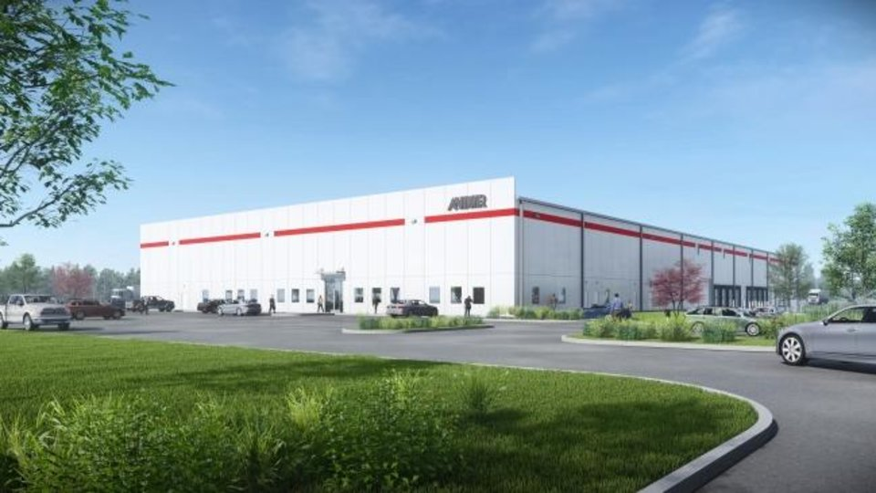 Photo -  This is an artit's rendering of the future Anixter warehouse on S Pole Road. [CLAYCO]