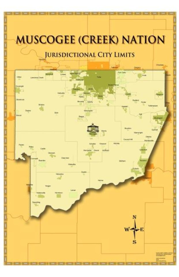 Photo -  This map from the Muscogee (Creek) Nation shows cities within the tribe's reservation, which includes all or part of eight counties.