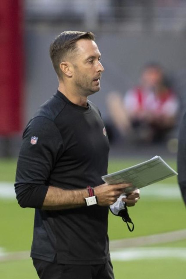 Photo -  Kliff Kingsbury was hired 21 months ago as the Cardinals head coach after failing to win in six seasons at Texas Tech.   [AP Photo/Jennifer Stewart]