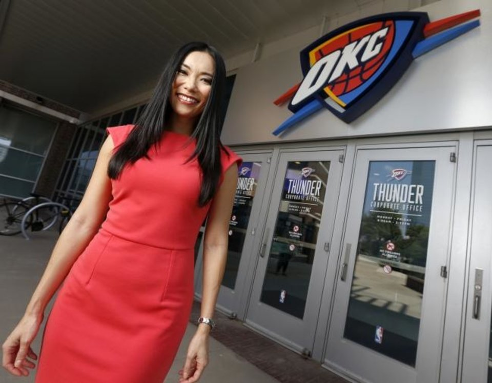 Photo - Thunder Girl Kei poses for a photo outside of Chesapeake Energy Arena in Oklahoma City, Monday, Aug. 26, 2019. [Nate Billings/The Oklahoman]