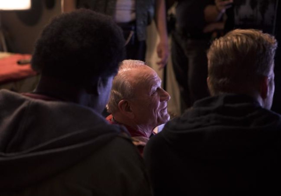 Photo -  Barry Switzer appears on the set of the Oklahoma-made football comedy