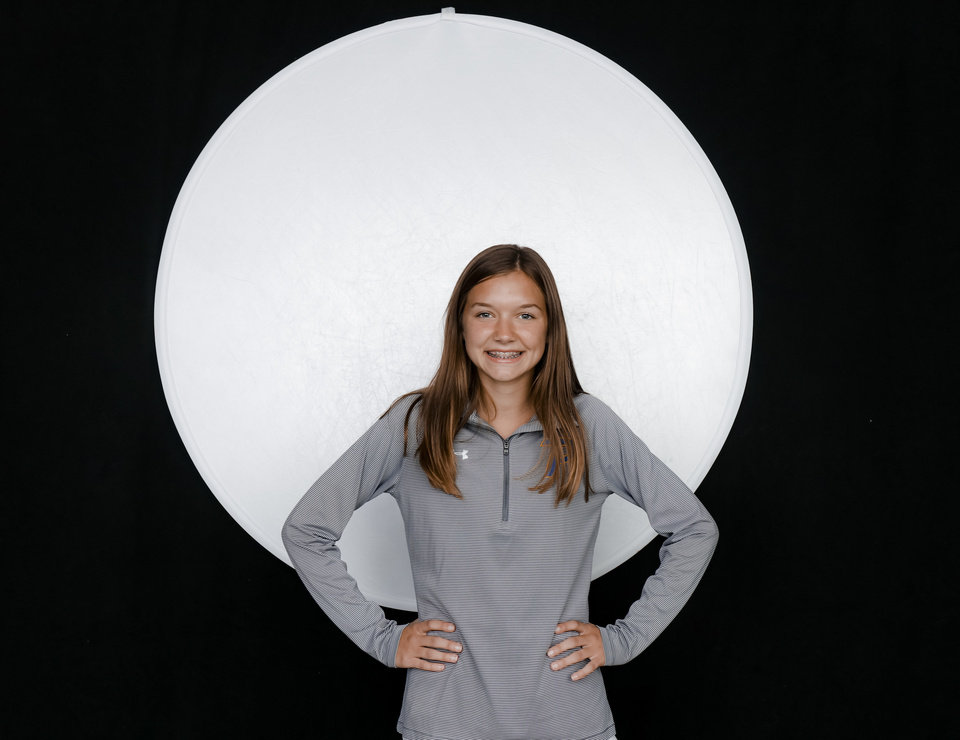Photo - Piedmont's Aubrey Bray poses for a photo during The Oklahoman's Fall Sports Media Day at Bishop McGuinness on Aug. 14. [Doug Hoke/The Oklahoman]