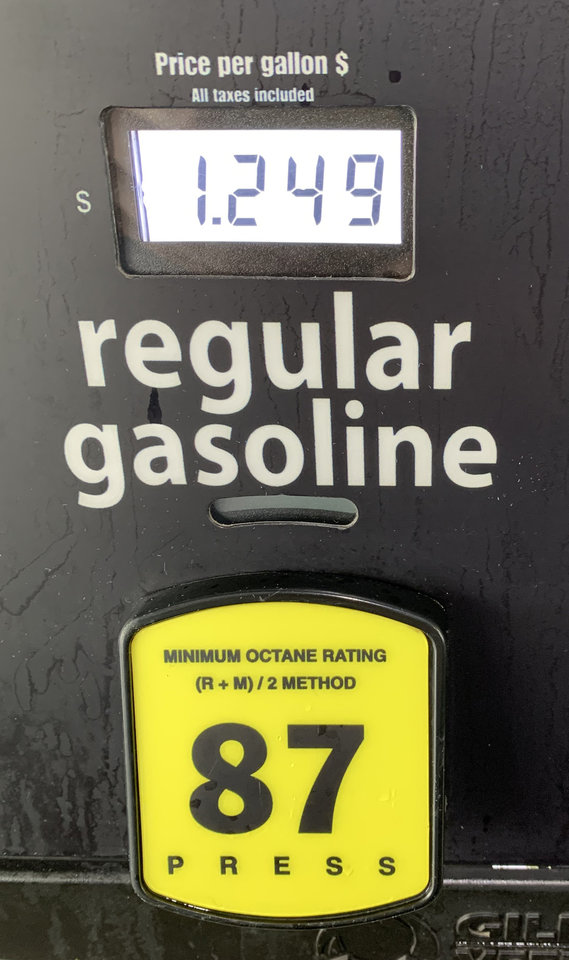 Photo - Gasoline for $1.24.9 at COSTCO in Oklahoma City Monday, March 16, 2020. Photo by Bailey Huntsman/The Oklahoman