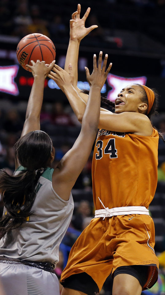 Photo - Baylor's Kalani Brown (21) blocks a shot by Texas' Imani Boyette (34) during the Big 12 Women's Basketball Championship final between the Texas Longhorns and the Baylor Lady Bears at Chesapeake Energy Arena in Oklahoma City, Monday, March 7, 2016. Photo by Nate Billings, The Oklahoman