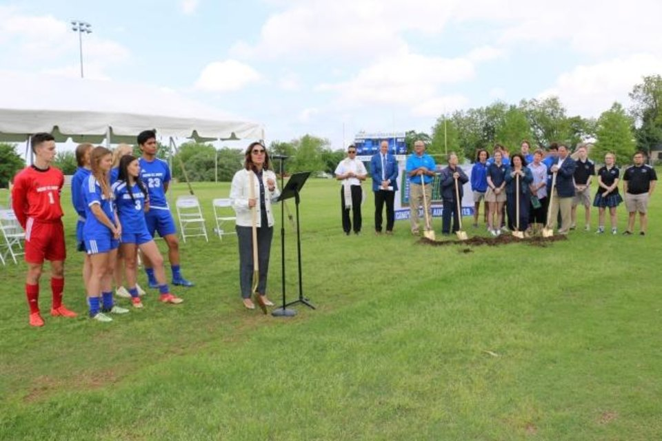 Photo -  Talita DeNegri, Mount St. Mary Catholic High School principal, closes the groundbreaking ceremony by thanking the donors and crowd. [PHOTO PROVIDED]