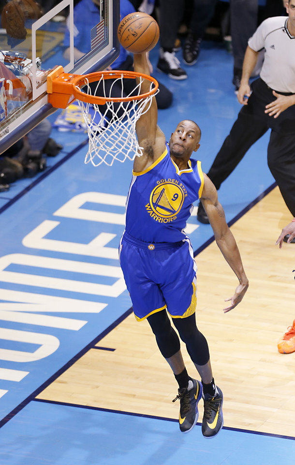Photo - Golden State 's Andre Iguodala (9) goes up for a lay up during Game 3 of the Western Conference finals in the NBA playoffs between the Oklahoma City Thunder and the Golden State Warriors at Chesapeake Energy Arena in Oklahoma City, Sunday, May 22, 2016. Photo by Sarah Phipps, The Oklahoman