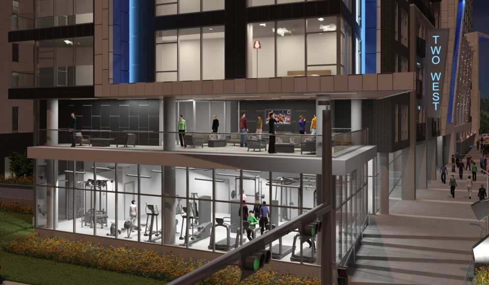 Photo -  The Two West proposal concept suggests creating a two-level ground floor consisting of a fitness center and an outdoor patio. [Design by ADG Inc.]