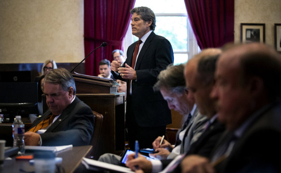 Photo -  Defense attorney Larry Ottaway speaks during his opening statements Tuesday. [Chris Landsberger/The Oklahoman]