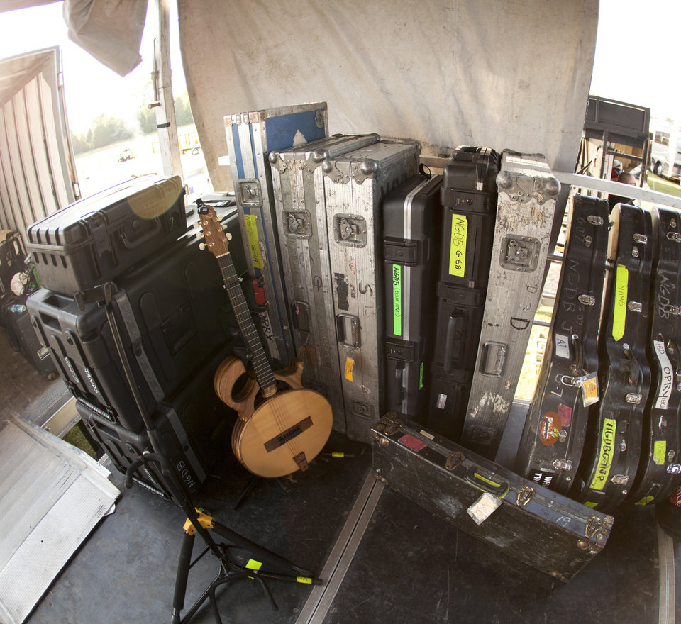 Photo -  Guitars sit backstage at G Fest 2017. [Photo by Nathan Poppe, The Oklahoman]