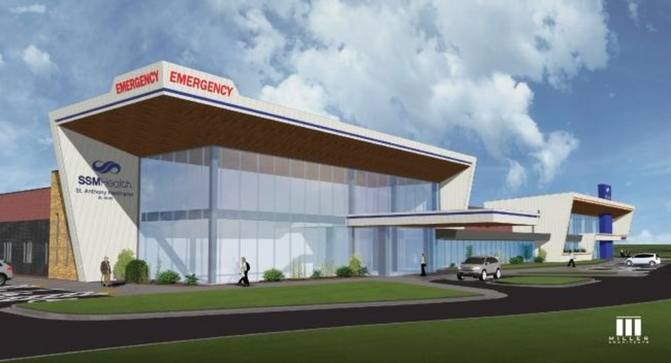 Photo -  The future SSM Health St. Anthony Healthplex in El Reno is shown in this rendering. Officials broke ground for it Tuesday. [IMAGE PROVIDED]