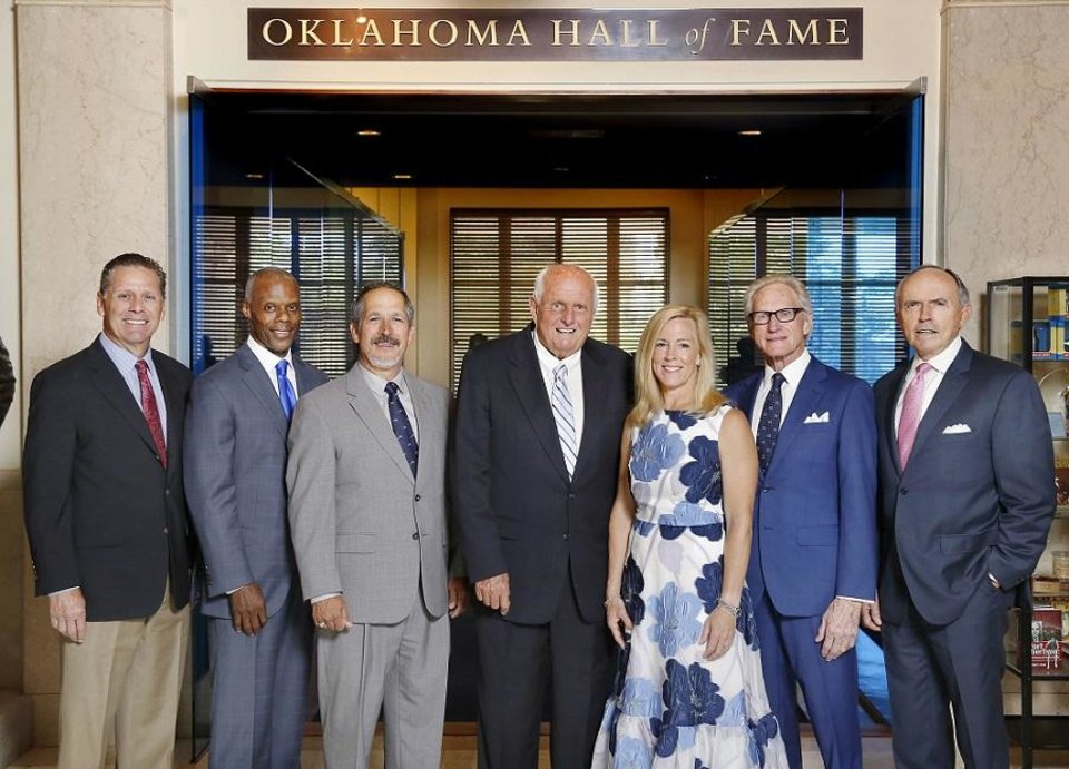 Photo - Members of the 2019 class of the Oklahoma Hall of Fame. are introduced during a luncheon Thursday, May 16, 2019, at the Gaylord-Pickens Museum. This year's honorees pose for a class portrait: Steve Largent, Tulsa; J. C. Watts Jr., Eufala; John Herrington, Wetumka; Gray Frederickson, Okahoma City; Tricia Everest, Oklahoma City; John Nickel, Muskogee, and James Day, Pond Creek. Chief Allen Wright, also known as Kiliahote, Mississippi/Boggy Depot, Choctaw Nation, will be inducted posthumously. [Jim Beckel/The Oklahoman]