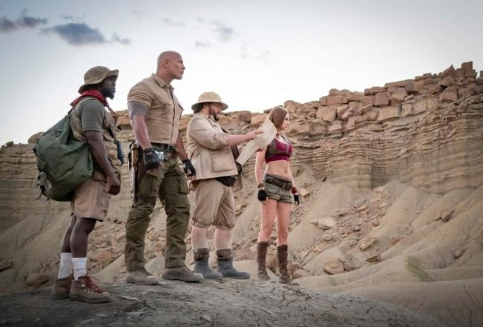 Photo -  From left, Kevin Hart, Dwayne Johnson, Jack Black, and Karen Gillan star in
