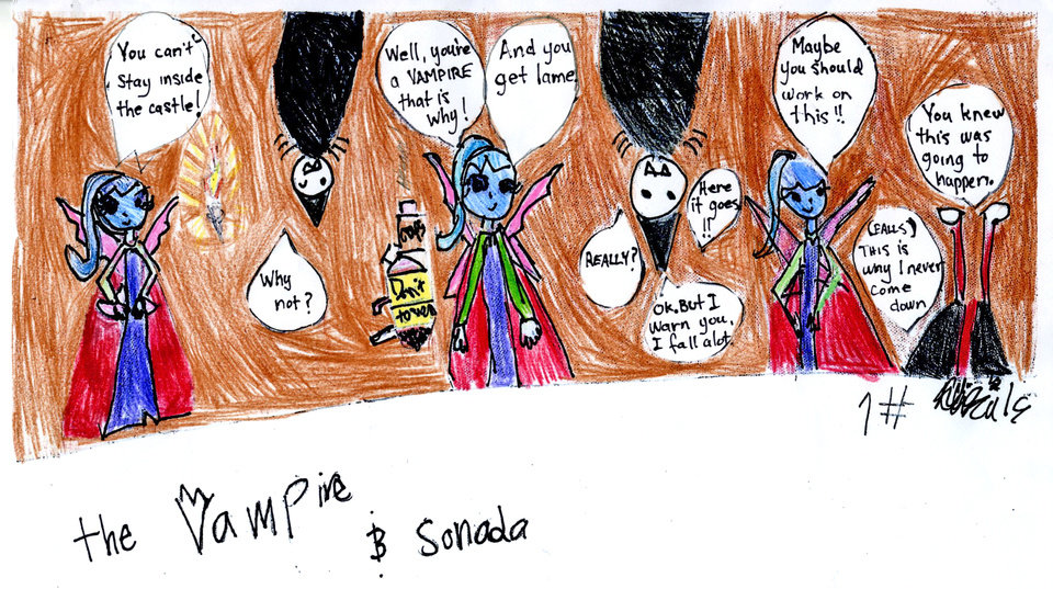 "Photo - Abigail Stemmons, 9, of Oklahoma City, was inspired by her favorite comic strips to create her own strip, called ""Vampire & Sonada.""  Photo provided"