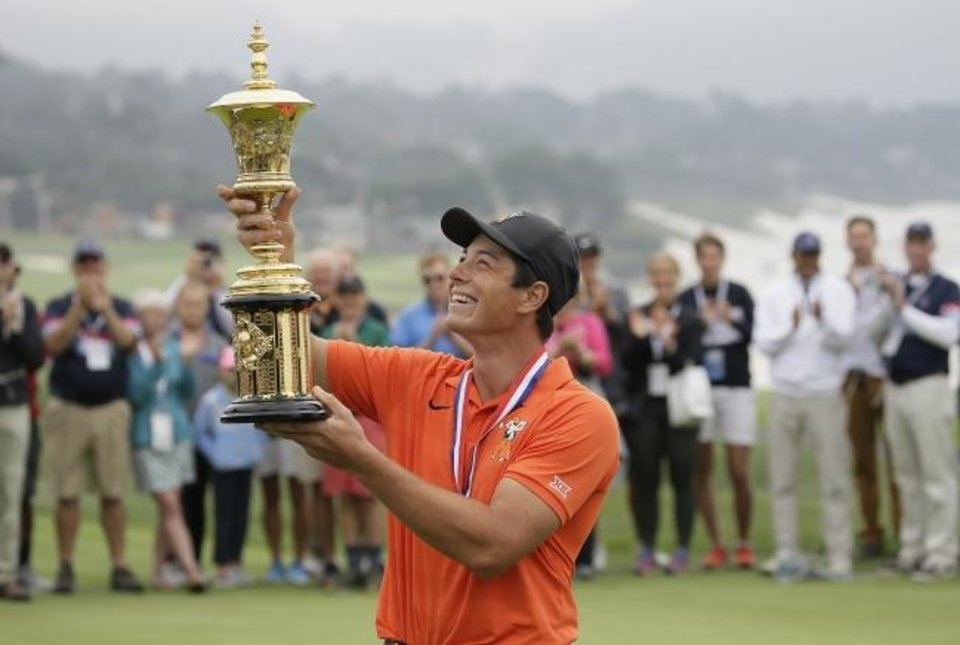 Photo -  Former Oklahoma State star Viktor Hovland won the USGA Amateur Golf Championship last August at Pebble Beach, site of this weekend's U.S. Open. [AP Photo/Eric Risberg]