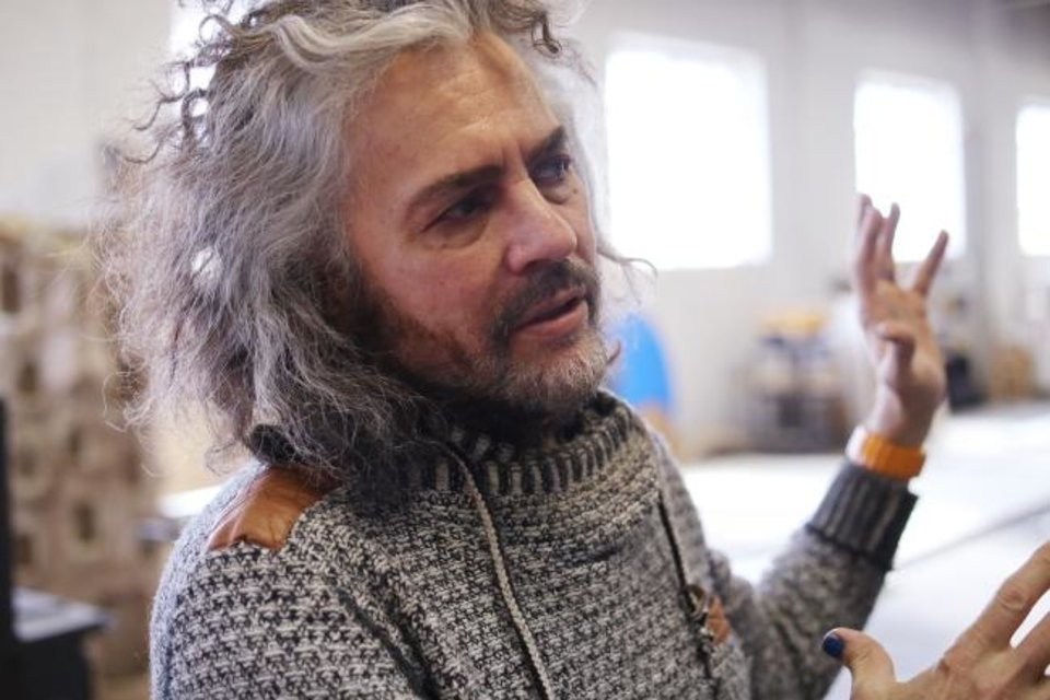 Photo -  Wayne Coyne, frontman of The Flaming Lips, talks about the relationship between Factory Obscura and The Womb, Saturday, March 9, 2019. [Photo by Doug Hoke/The Oklahoman]