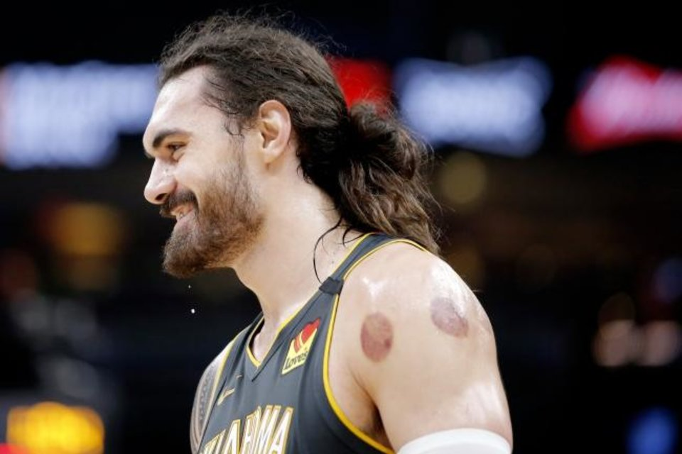 Photo -  Thunder center Steven Adams has used cupping therapy for at least two seasons, resulting in the destinctive round bruises on his shoulder. While the bruising looks painful, the process of cupping is not. It is meant to relax and rejuvinate. [BRYAN TERRY/THE OKLAHOMAN]