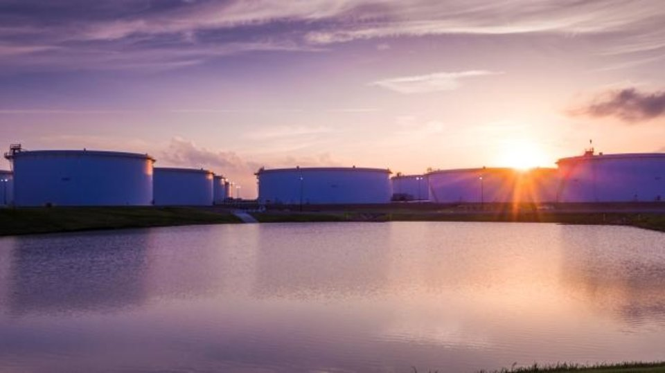 Photo -  Tanks owned and operated by SemGroup Corp. are shown at the Cushing terminal. [PROVIDED]