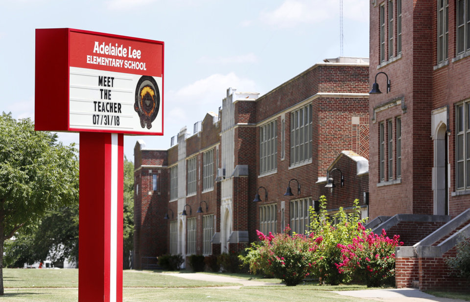 Photo -  Marquee at Lee Elementary, 424 SW 29, reflects the name of Adelaide Lee, not Confederate general Robert E. Lee, the school's previous namesake. [Photo by Jim Beckel, The Oklahoman]