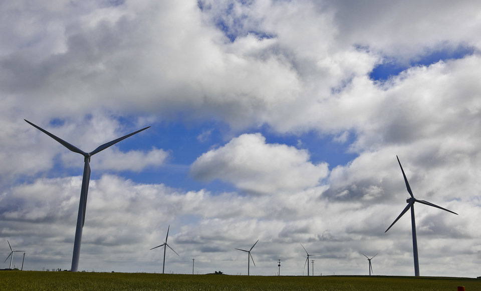 Photo -  Wind farm development north of Calumet, Okla. on Thursday, May 14, 2015. Photo by Chris Landsberger, The Oklahoman