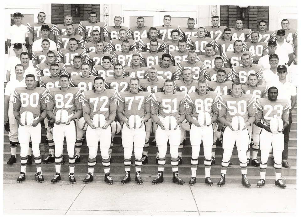 Photo - Pittman (23, bottom right) with the 1960 Oklahoma State Cowboys.  Photo Provided