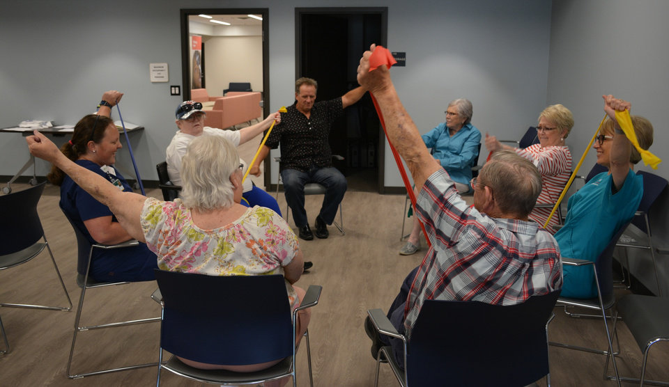 Photo -  Marlene Snow, at right, leads a diabetes exercise class. [PROVIDED BY NEWVIEW OKLAHOMA]
