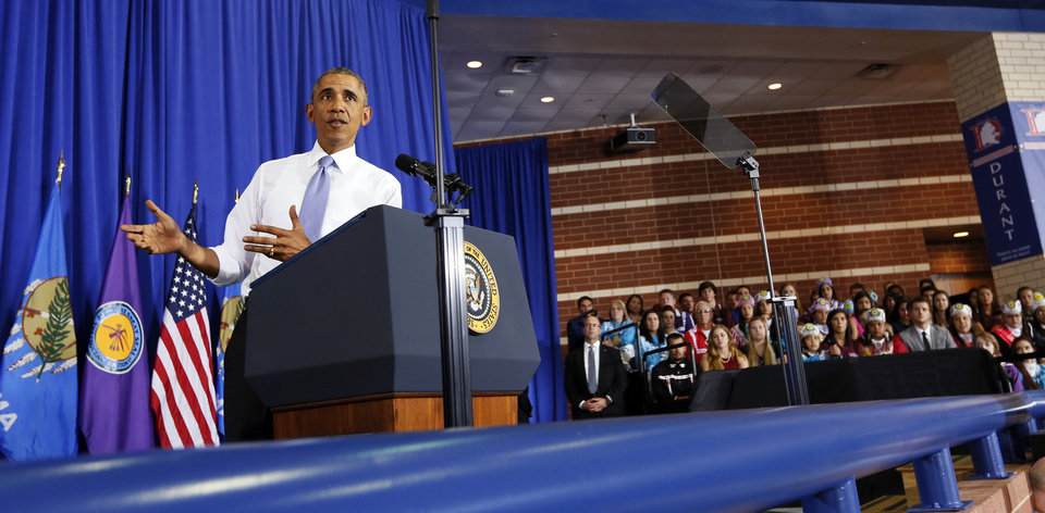 Photo - President Barack Obama speaks at Durant High School in Durant, Okla., Wednesday, July 15, 2015. Photo by Nate Billings, The Oklahoman