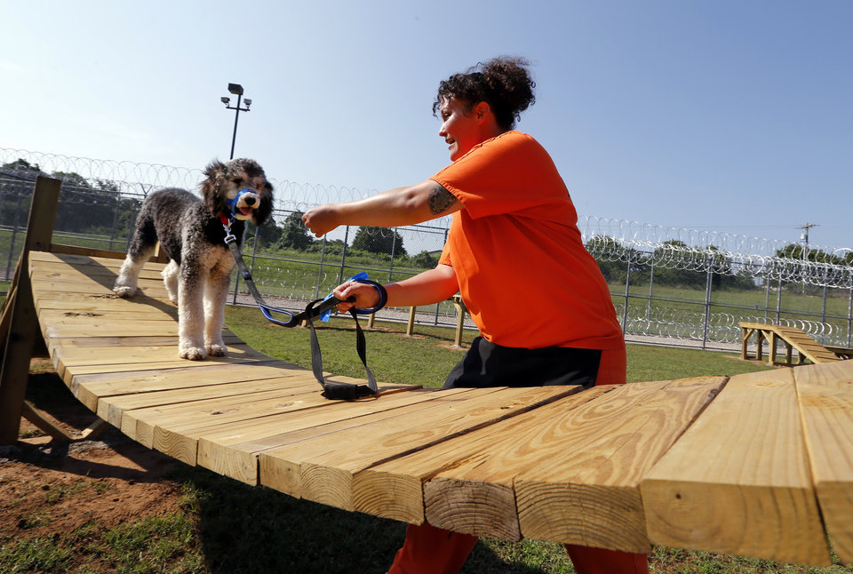 Photo -  Lacey Wallace works with her dog in training, McAlister, at the new dog training facility at Mabel Basset Correctional Center on Tuesday in McLoud. [Photo by Steve Sisney, The Oklahoman]