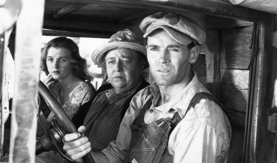 Photo -  From right, Henry Fonda, Jane Darwell and Dorris Bowdon star in
