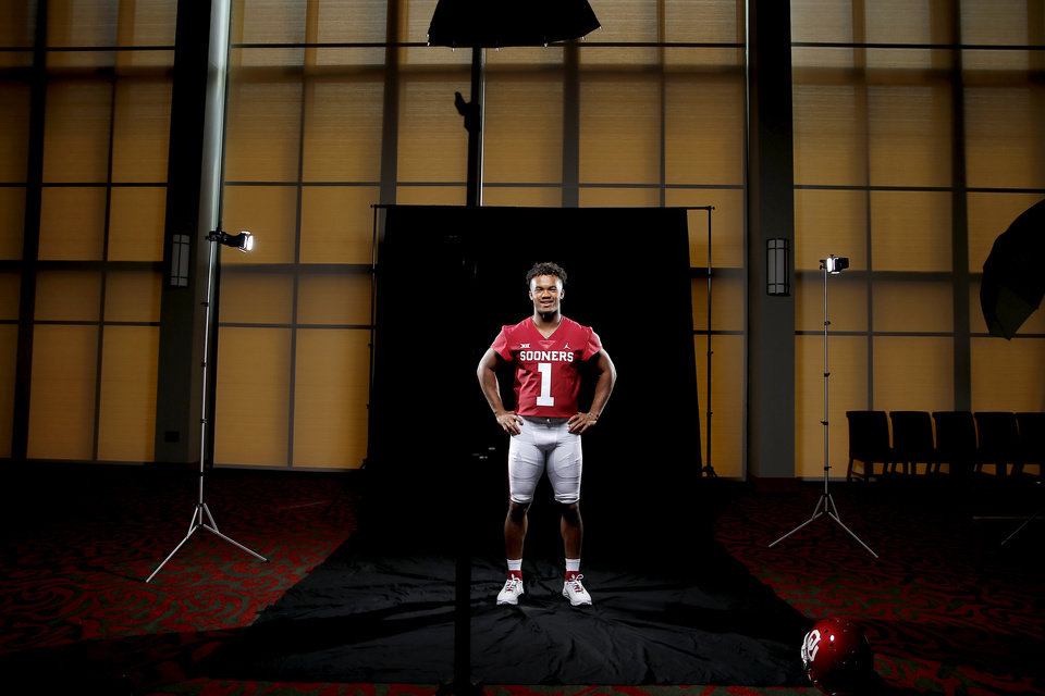 Photo - Oklahoma's Kyler Murray poses for a photo during the University of Oklahoma's media football day at Gaylord Family -Oklahoma Memorial Stadium in Norman, Okla., Sunday, July 22, 2018. Photo by Bryan Terry, The Oklahoman