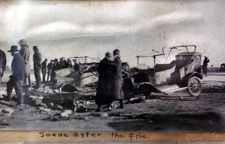 Photo - Scene after the 1924 Babbs Switch schoolhouse fire in Hobart.
