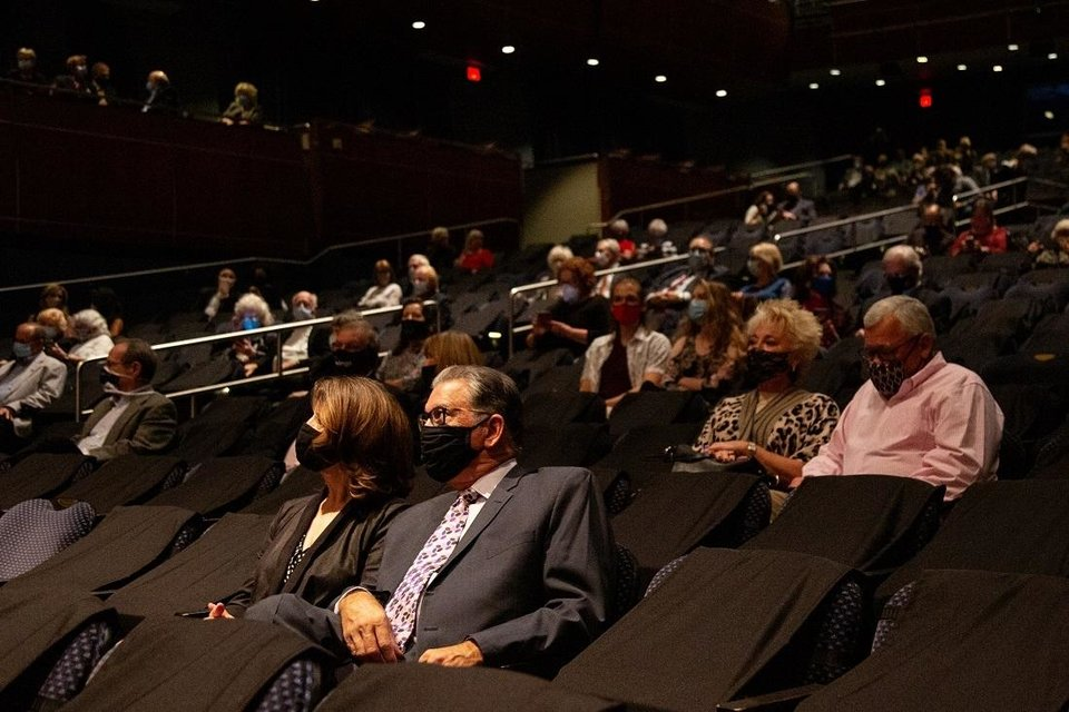 Photo -  A masked audience watches the Oklahoma City Philharmonic perform in an October concert. [Heather Hanson photo]