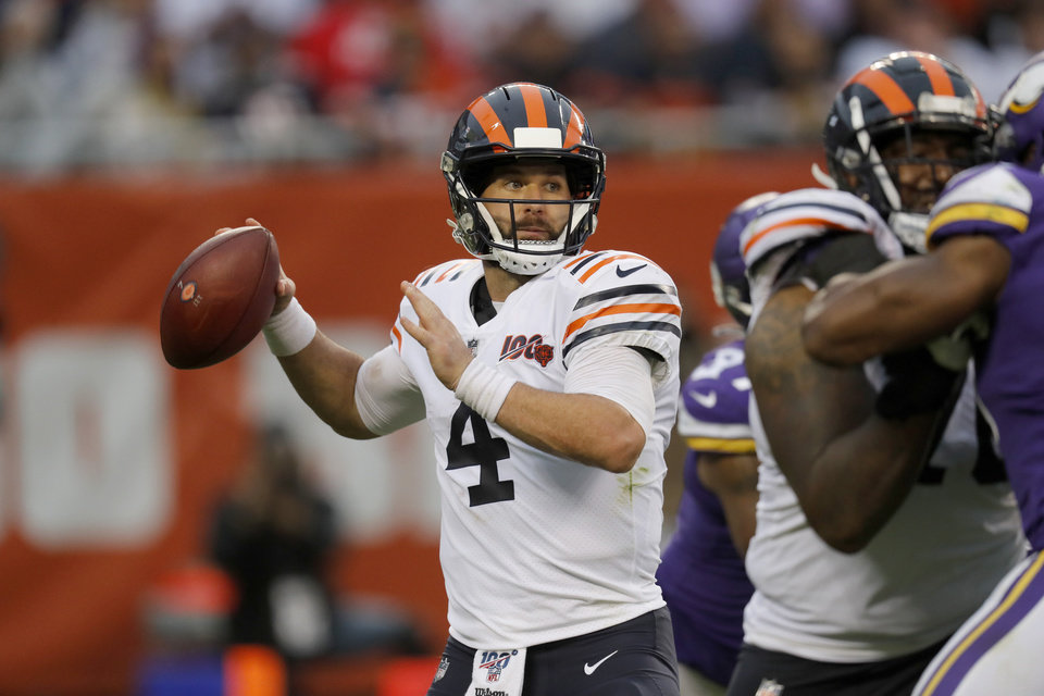 Photo - Chicago Bears quarterback Chase Daniel throws during the second half of an NFL football game against the Minnesota Vikings Sunday, Sept. 29, 2019, in Chicago. (AP Photo/Charles Rex Arbogast)